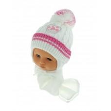 Czapeczka zimowa niemowlęca 42-46 biała z ciemnróżowym